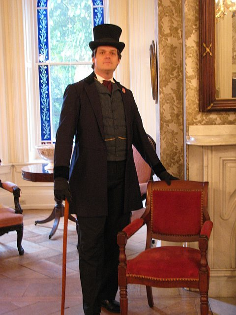 Steve Anderson as Congressman Thaddeus Stevens, with a chair the real Stevens actually used in Congress.